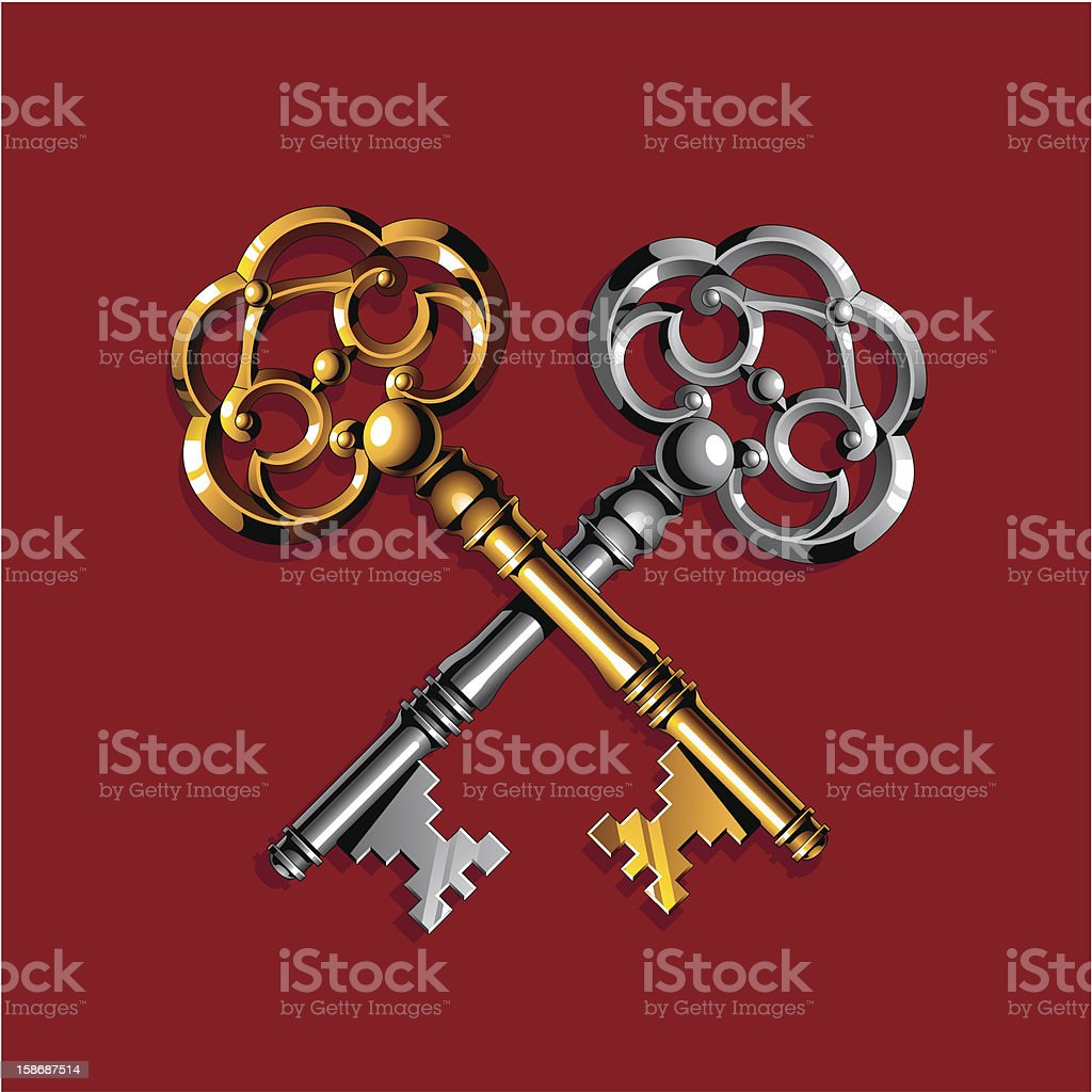 Gold and silver keys royalty-free stock vector art