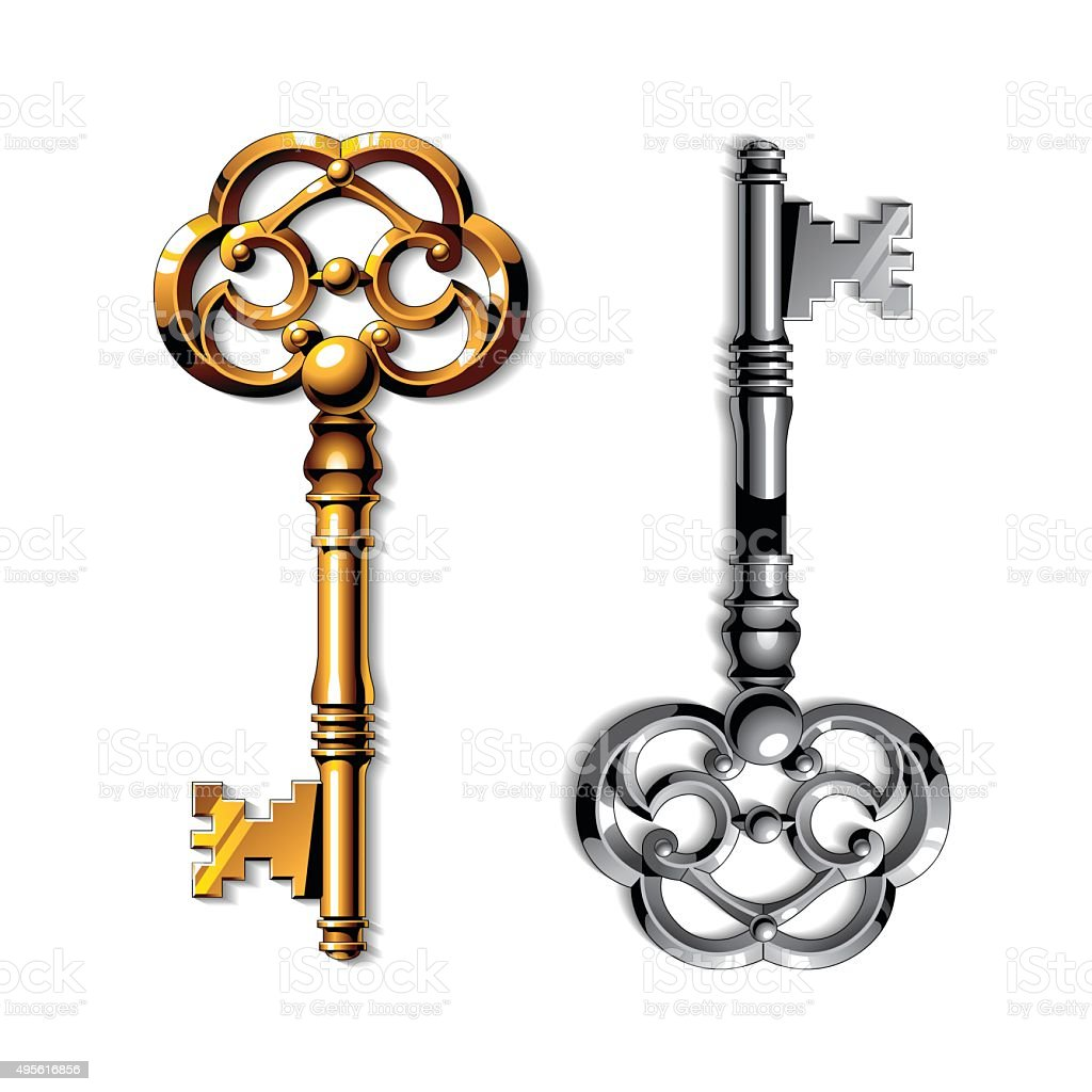 Gold and silver realistic vintage isolated keys vector art illustration