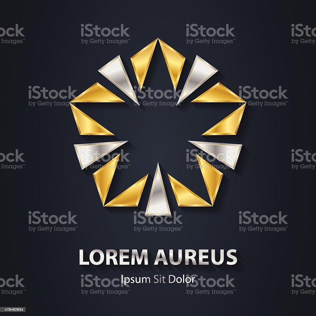 Gold and silver star logo. Award 3d icon. Metallic logotype vector art illustration
