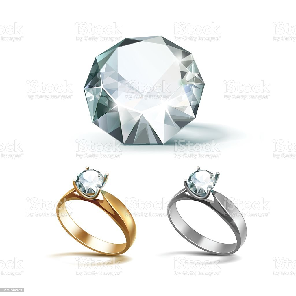 Gold and Siver Engagement Rings with White Shiny Clear Diamond vector art illustration