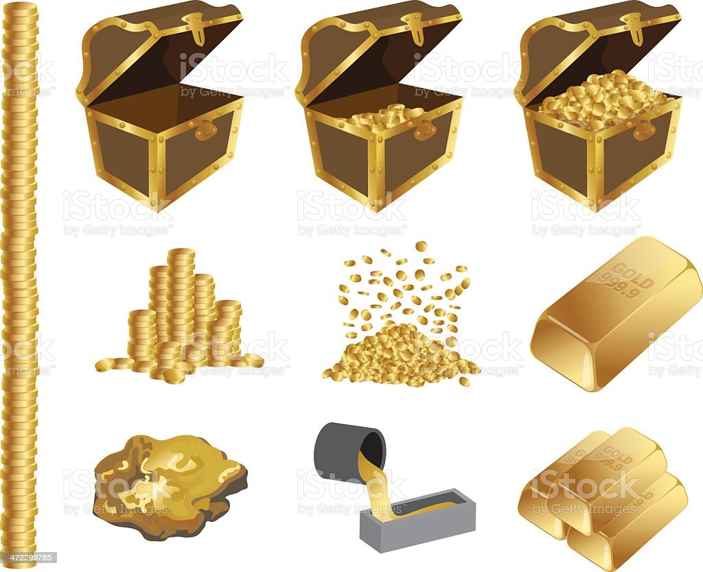 Gold and Treasure Icons vector art illustration