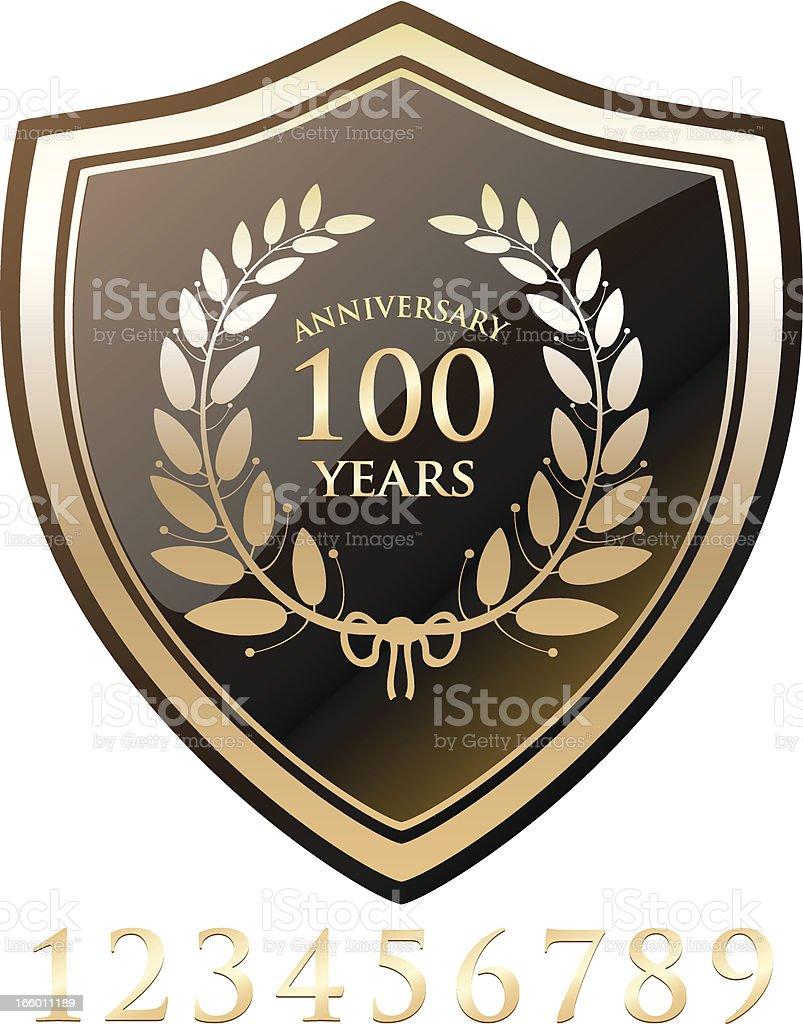 Gold Anniversary Shield vector art illustration