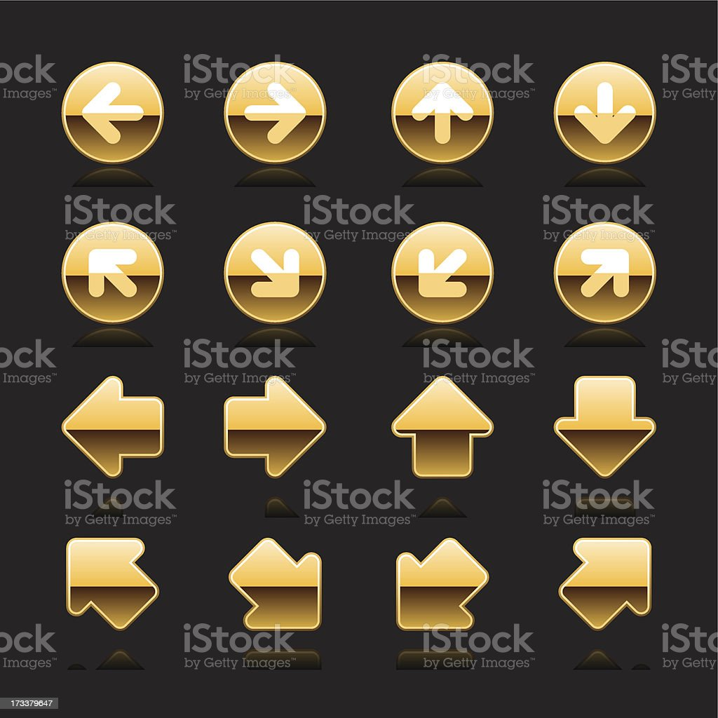Gold arrow sign white pictogram direction icon navigation button royalty-free stock vector art