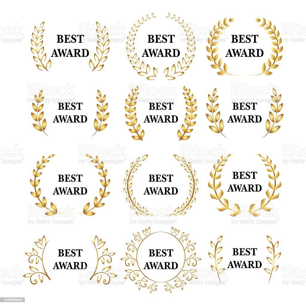 Gold award laurel wreath set, Winner label, leaf symbol victory vector art illustration