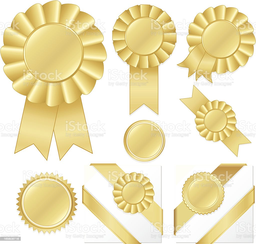 Gold Award Rosettes, Corner Ribbons, Stickers, and Buttons Set royalty-free stock vector art