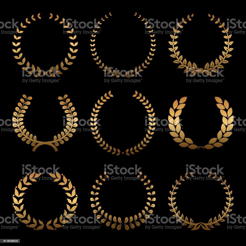 Gold award wreaths, laurel on black background. Vector vector art illustration