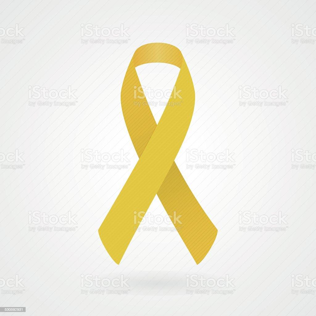 Gold awareness ribbon vector art illustration