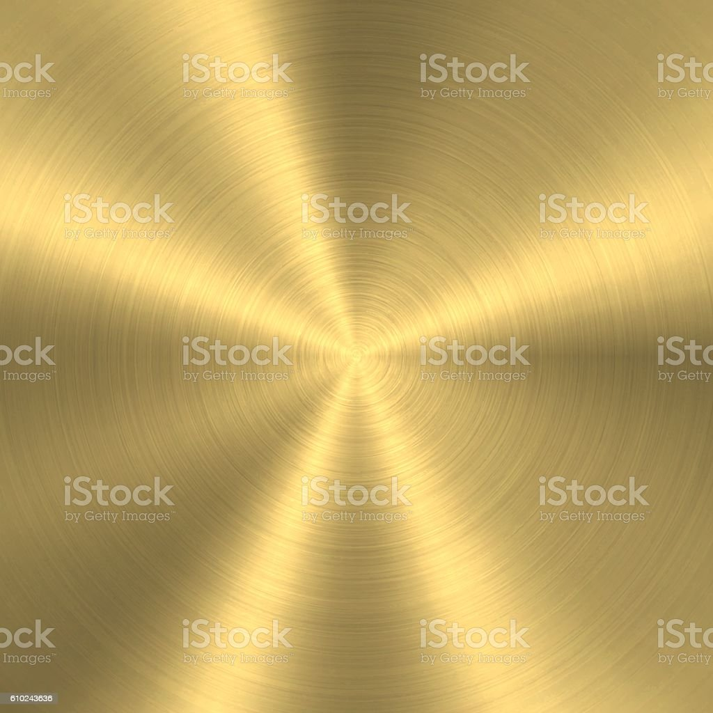 Gold background - Circular Brushed Metal Texture vector art illustration