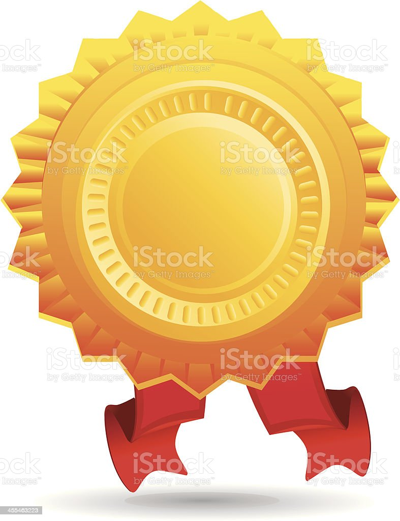 Gold badge and ribbon icon royalty-free stock vector art