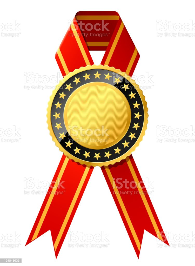 Gold badge with red ribbon royalty-free stock vector art