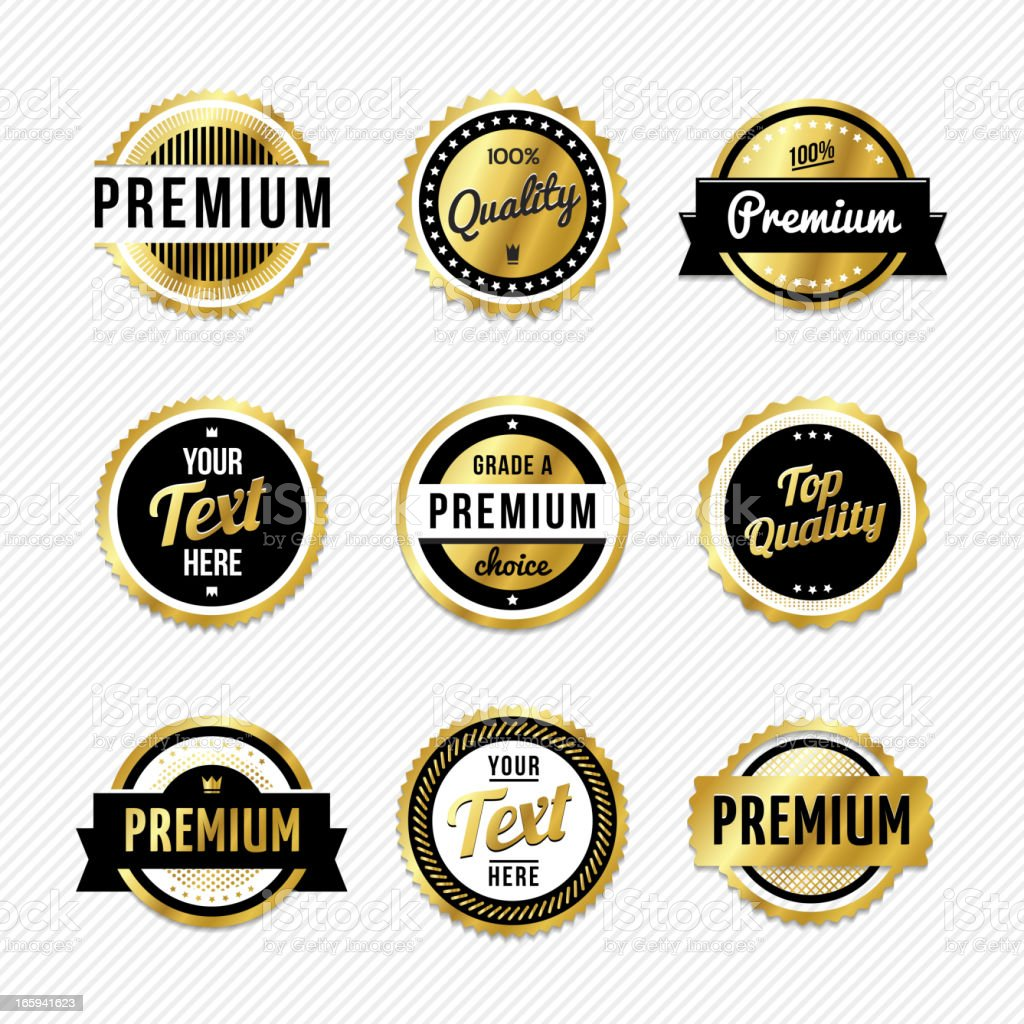 Gold badges with example text vector art illustration