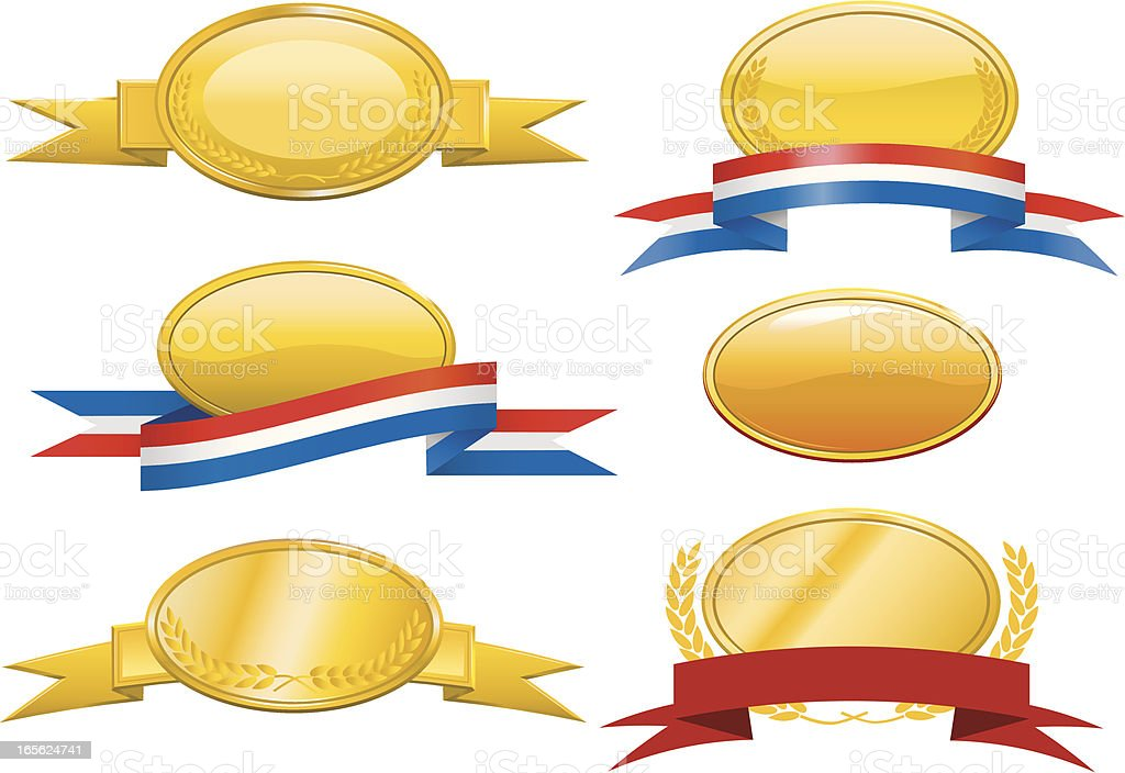 Gold Badges,Plaques and Ribbons royalty-free stock vector art