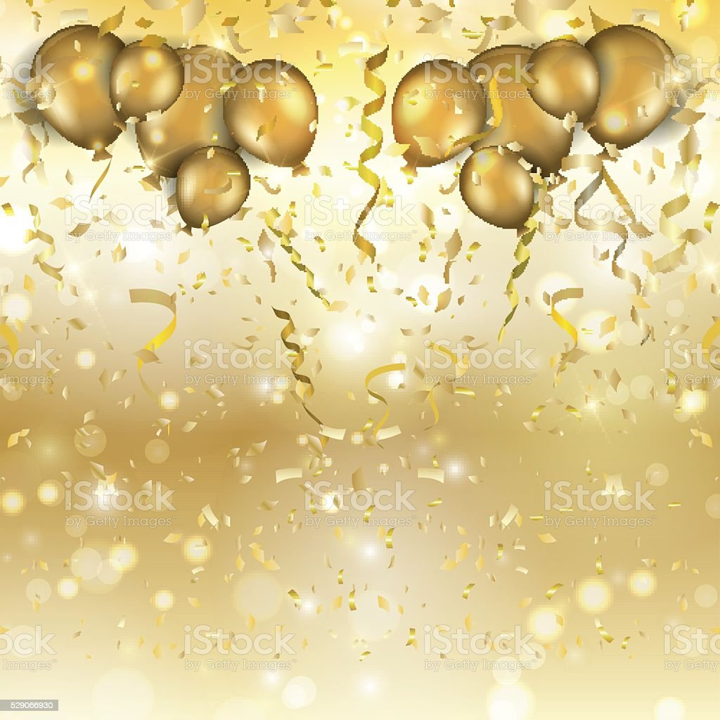 Gold balloons and confetti background vector art illustration