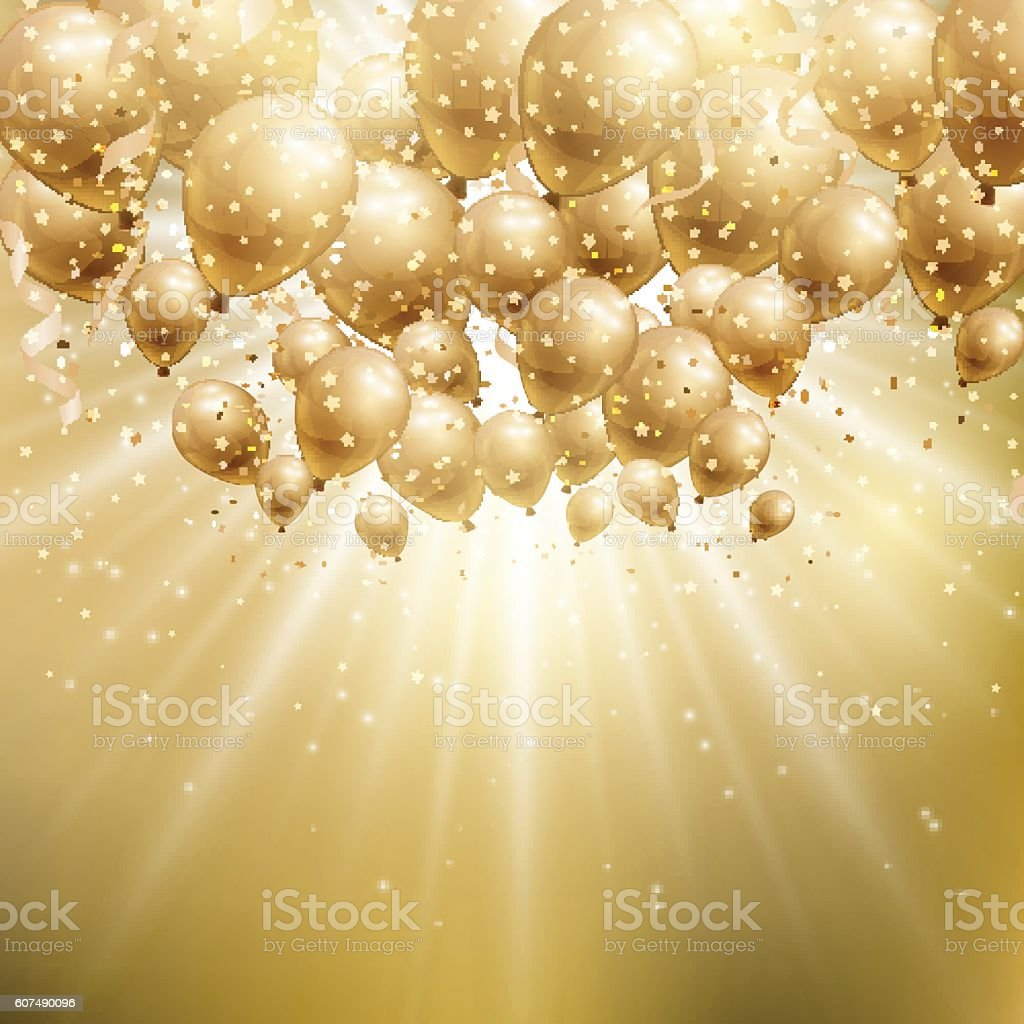 Gold balloons background vector art illustration
