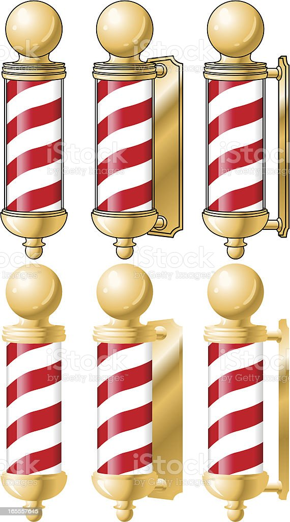Gold Barber Pole from different angles royalty-free stock vector art
