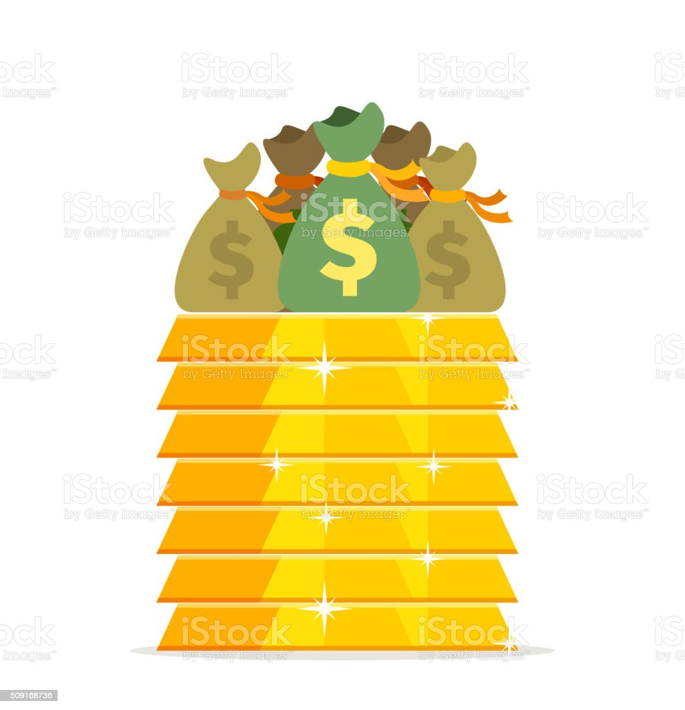 Gold bars and bags of money design flat. Gold bar, cash for gold, old...