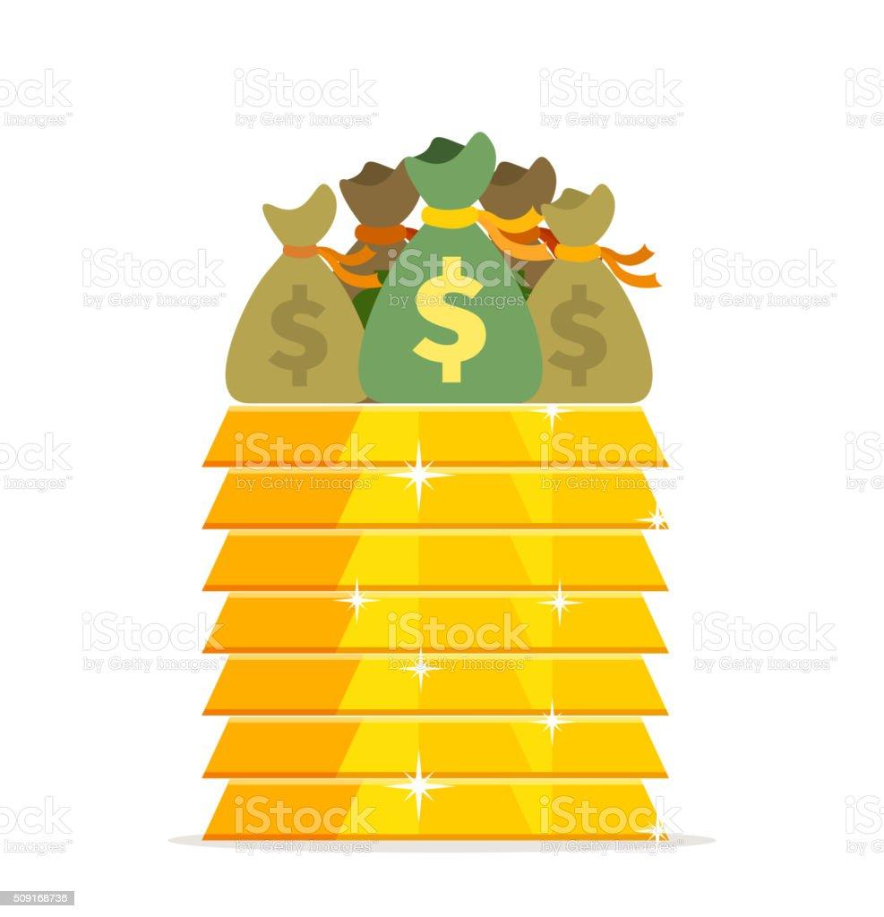 Gold bars and bags of money design flat vector art illustration