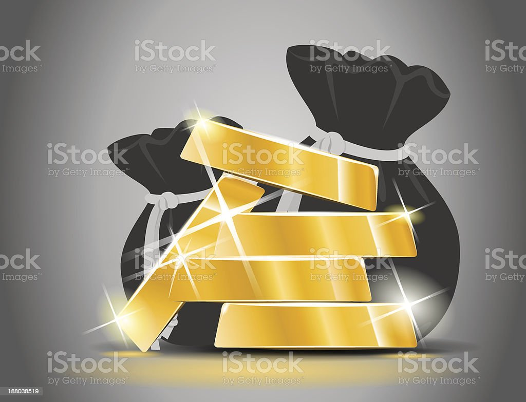 Gold bars from a bag full of money royalty-free stock vector art