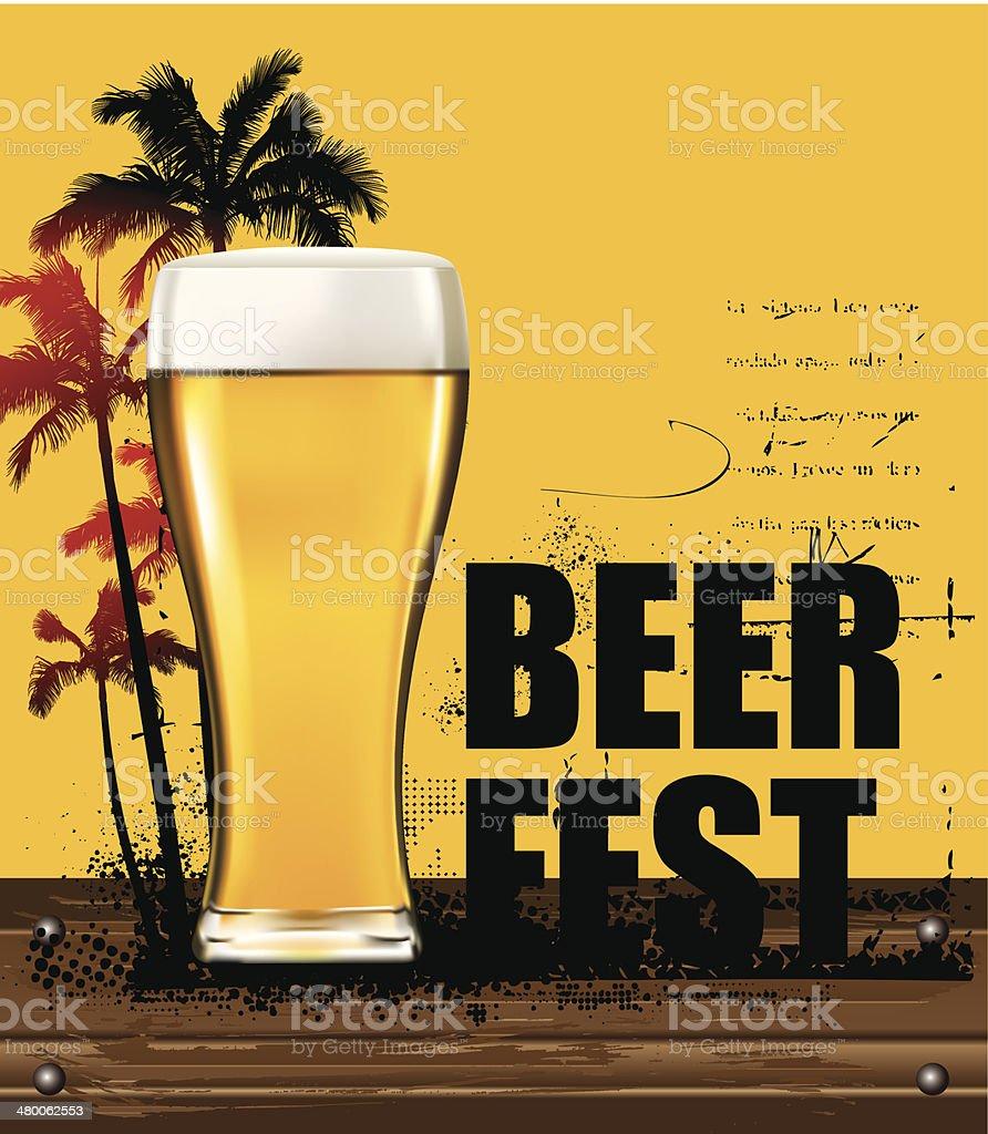 gold beer poster with summer scene vector art illustration