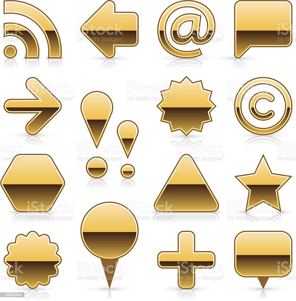 Gold blank button empty glossy icon web internet shape royalty-free stock vector art