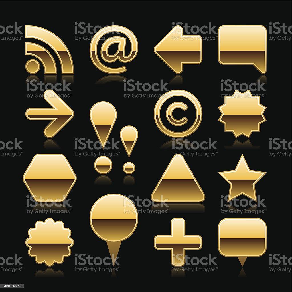 Gold blank button empty icon metal chrome web internet shape royalty-free stock vector art