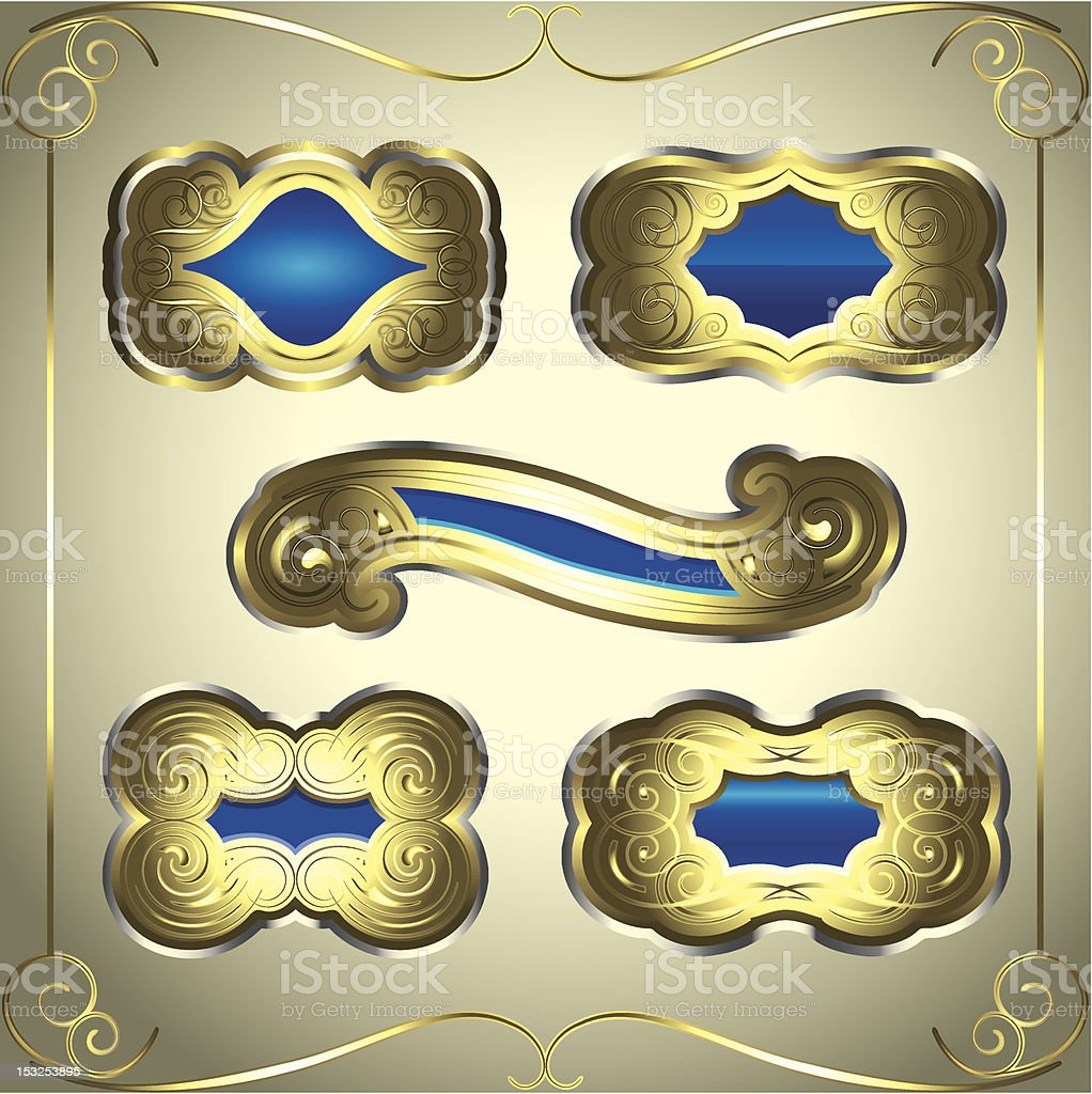 Gold blue labels royalty-free stock vector art