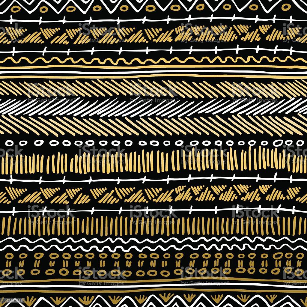 Gold boho seamless pattern retro tribal background vector art illustration