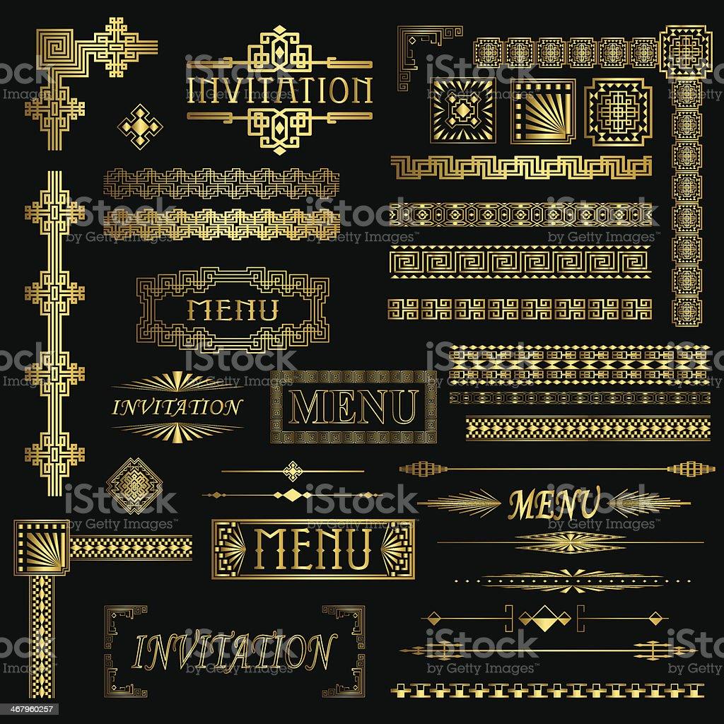 Gold Borders vector art illustration