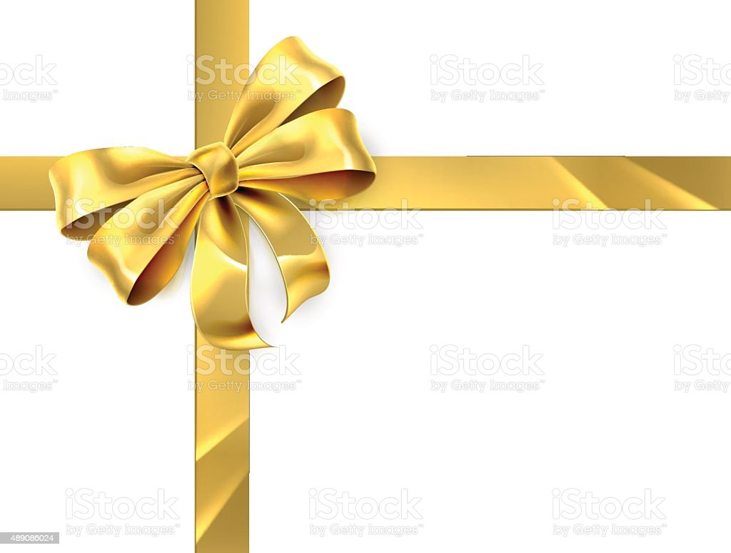 Gold Bow Gift vector art illustration