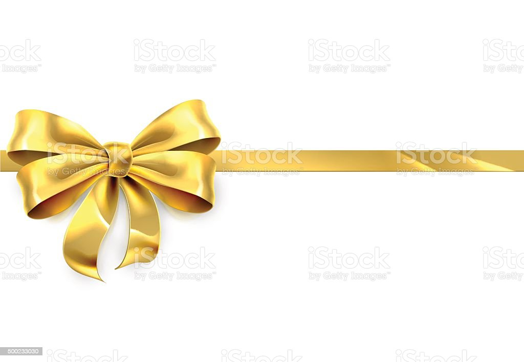Gold Bow Ribbon Gift Background vector art illustration