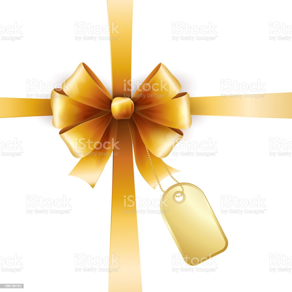 Gold bow with tag royalty-free stock vector art