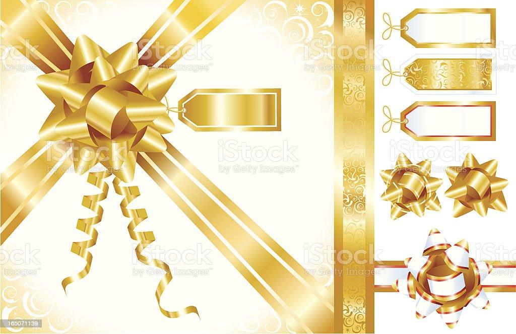 Gold Bows, Ribbons, and Tags royalty-free stock vector art