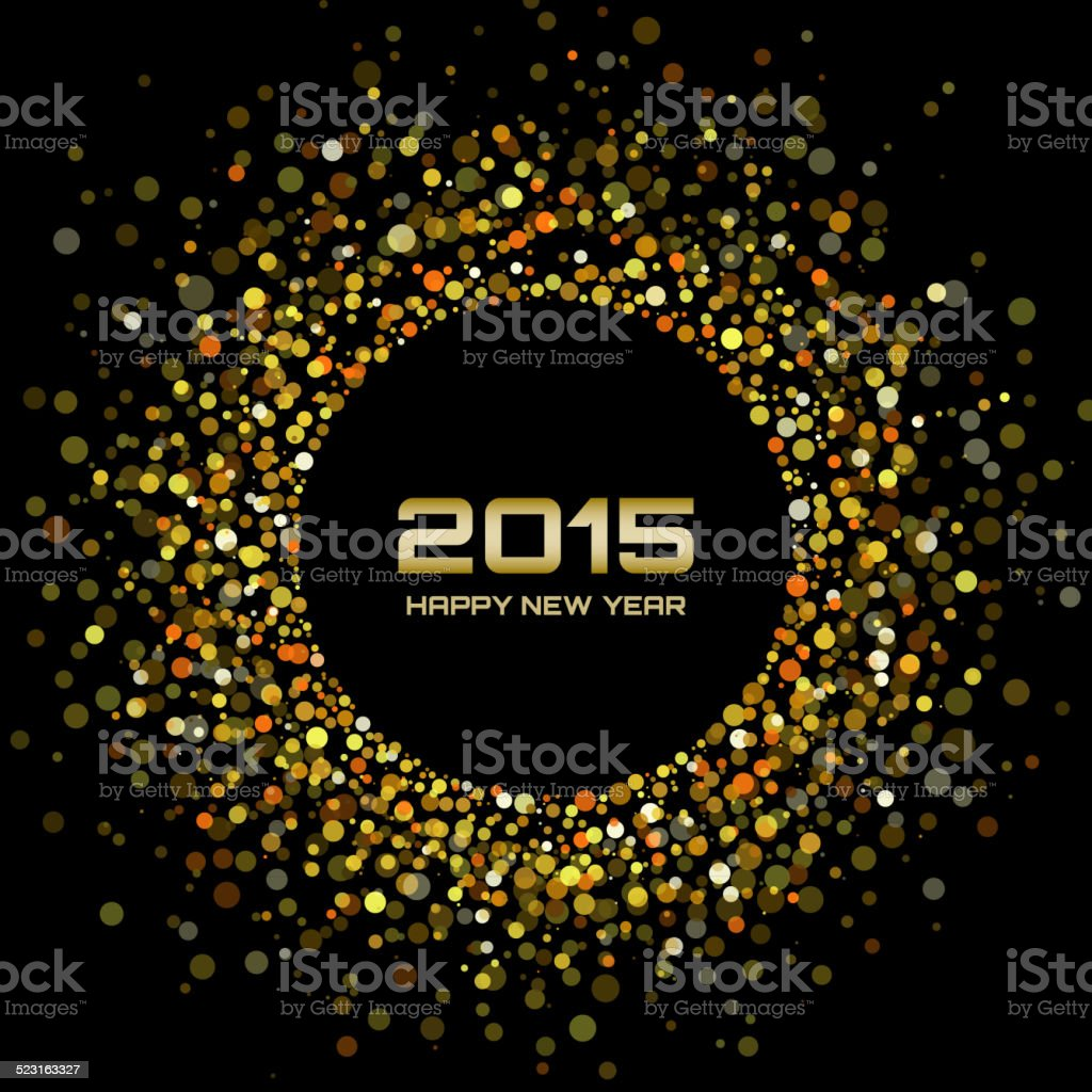 Gold Bright New Year 2015 Background vector art illustration