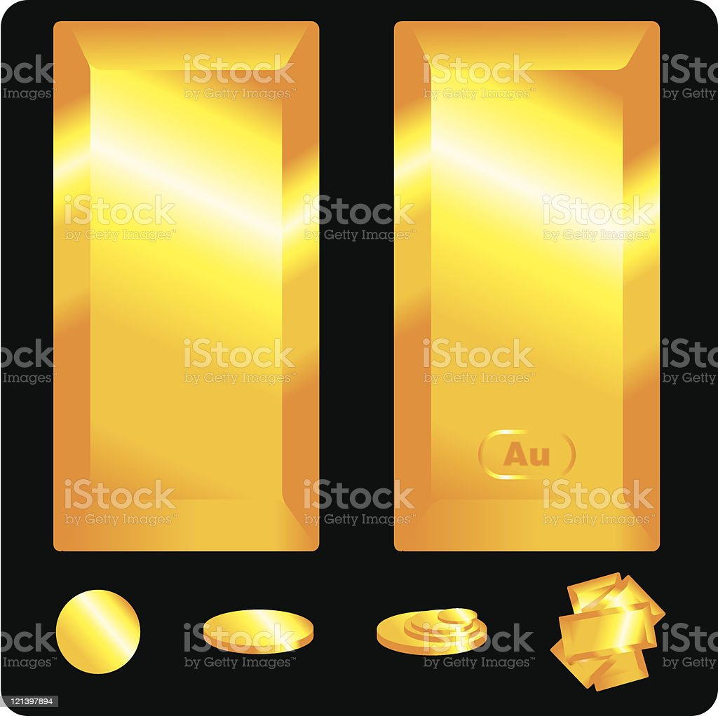 Gold Bullion and Bars royalty-free stock vector art