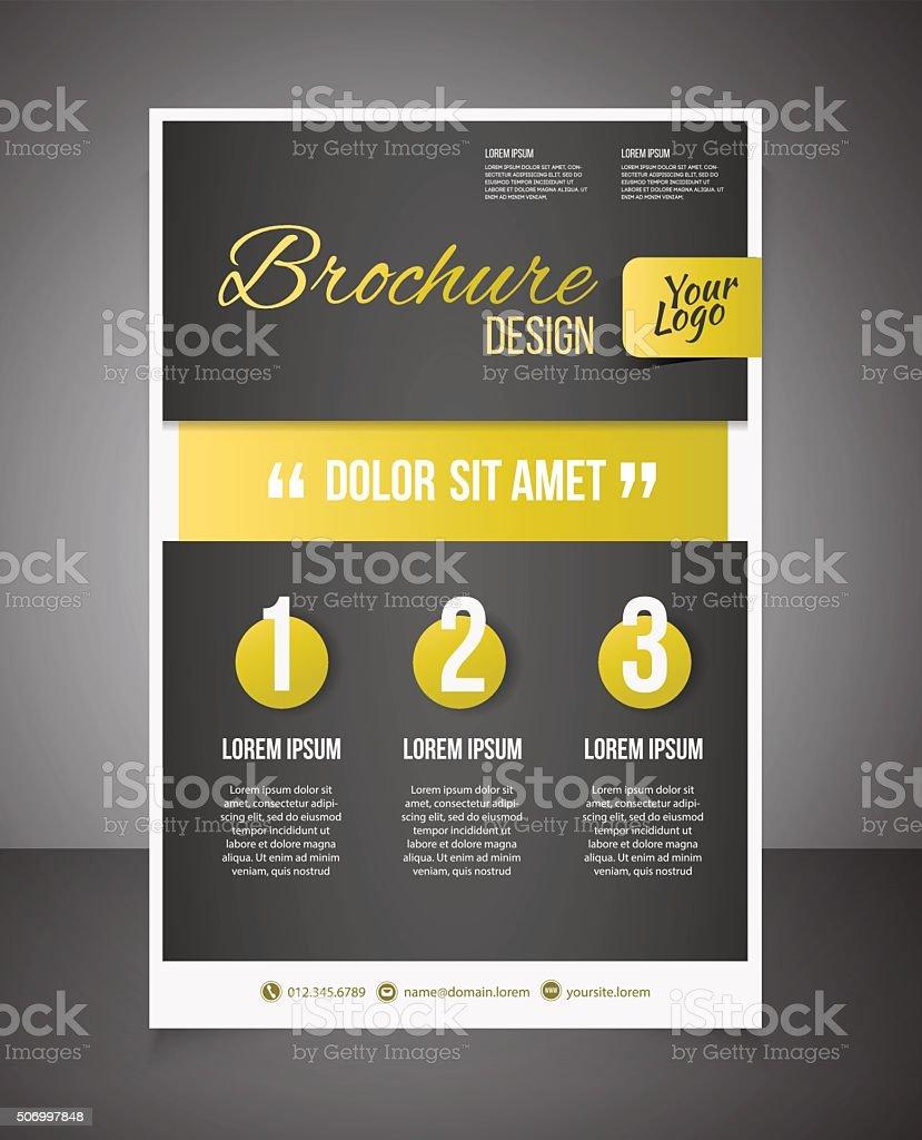 Gold business brochure or offer flyer design template. vector art illustration