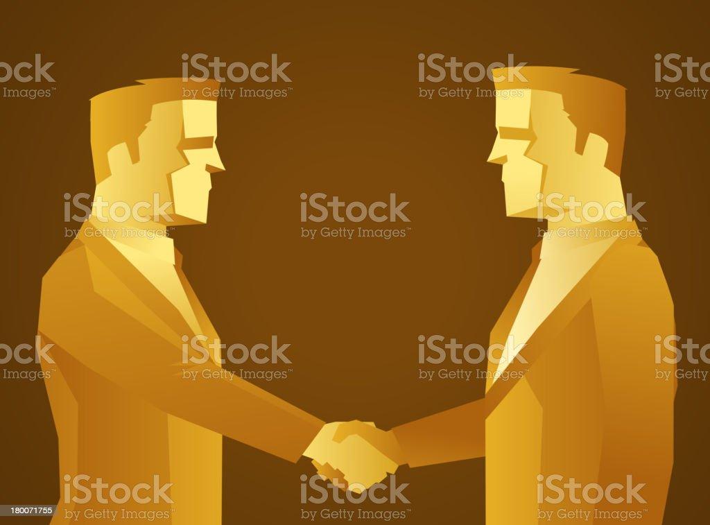 Gold businessmen shaking hands royalty-free stock vector art