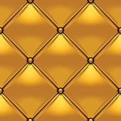 Gold button-tufted rhombic leather background