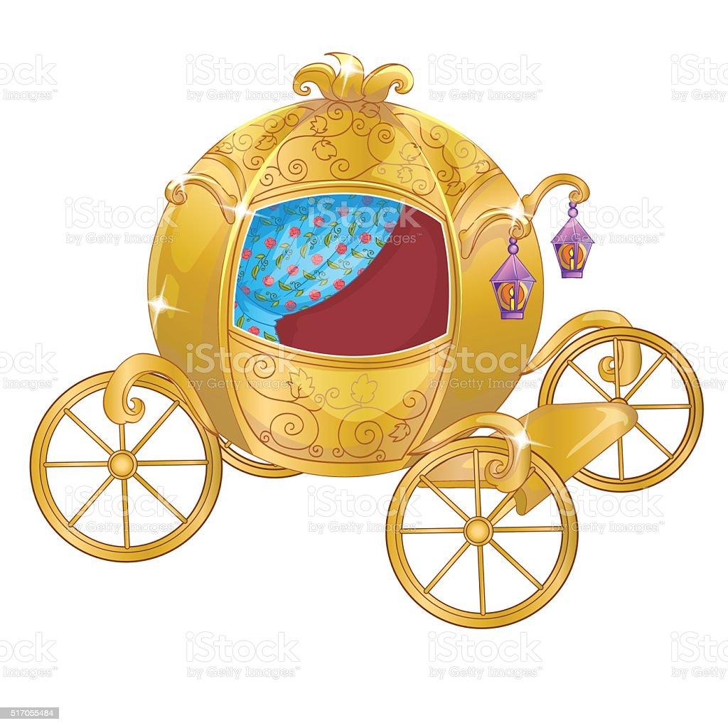 Gold Carriage For Cinderella vector art illustration