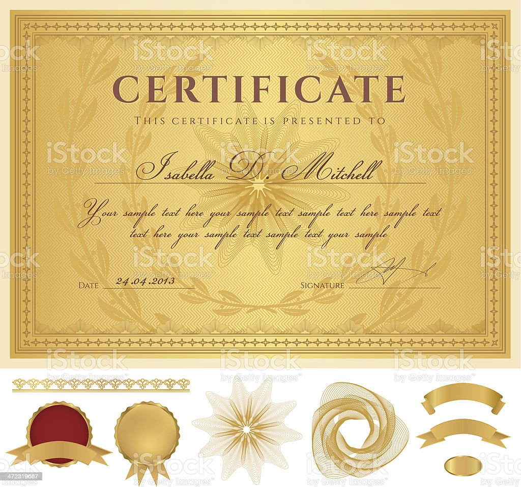 gold certificate diploma coupon award background borders guilloche gold certificate diploma coupon template award background borders guilloche pattern