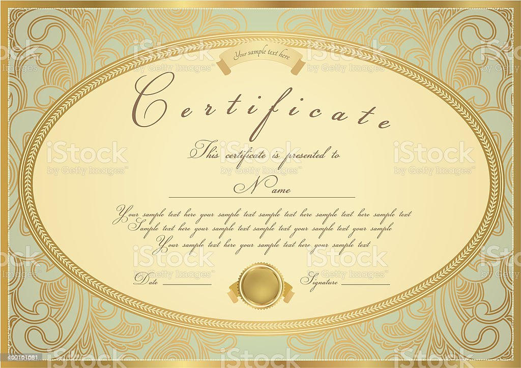 Gold Certificate Diploma Coupon stock vector art 450161681 ...