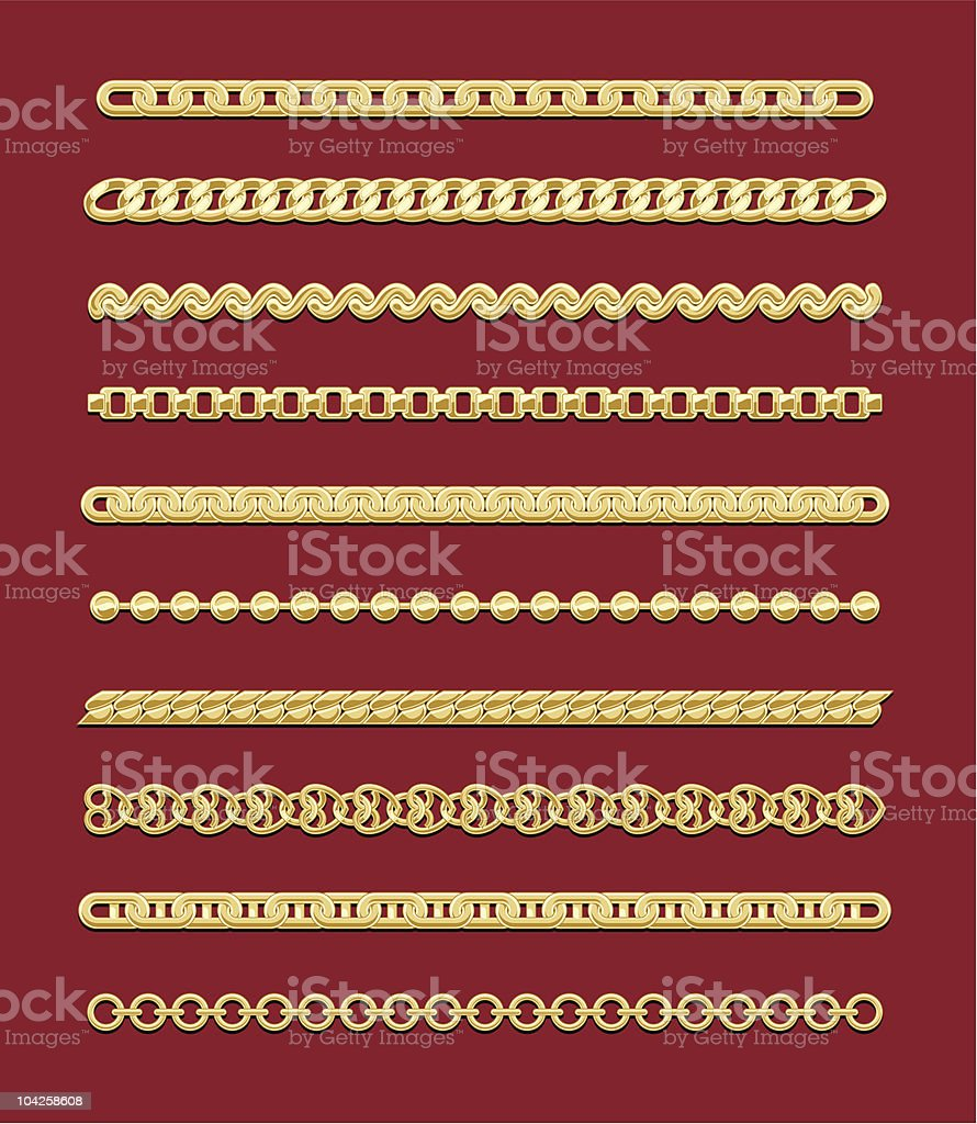 Gold Chain Designs royalty-free stock vector art