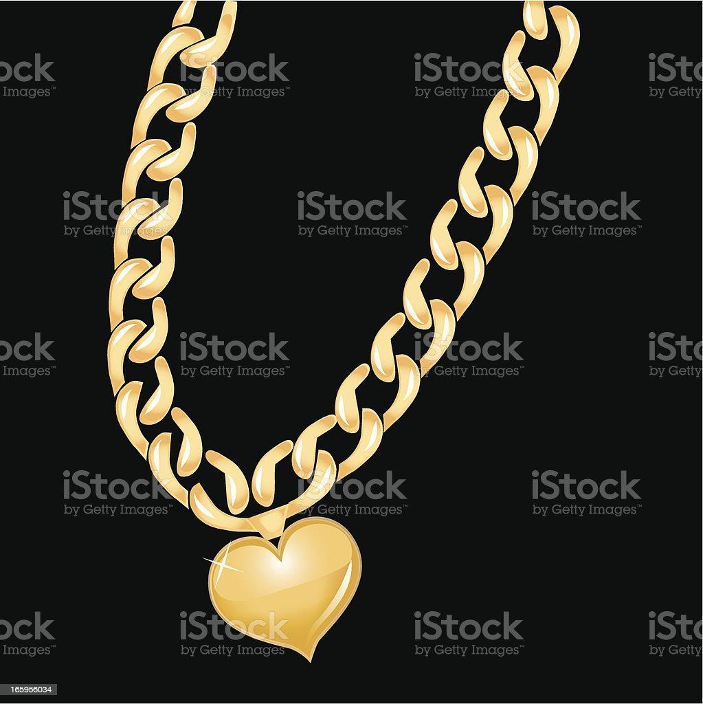Gold Chain Heart vector art illustration