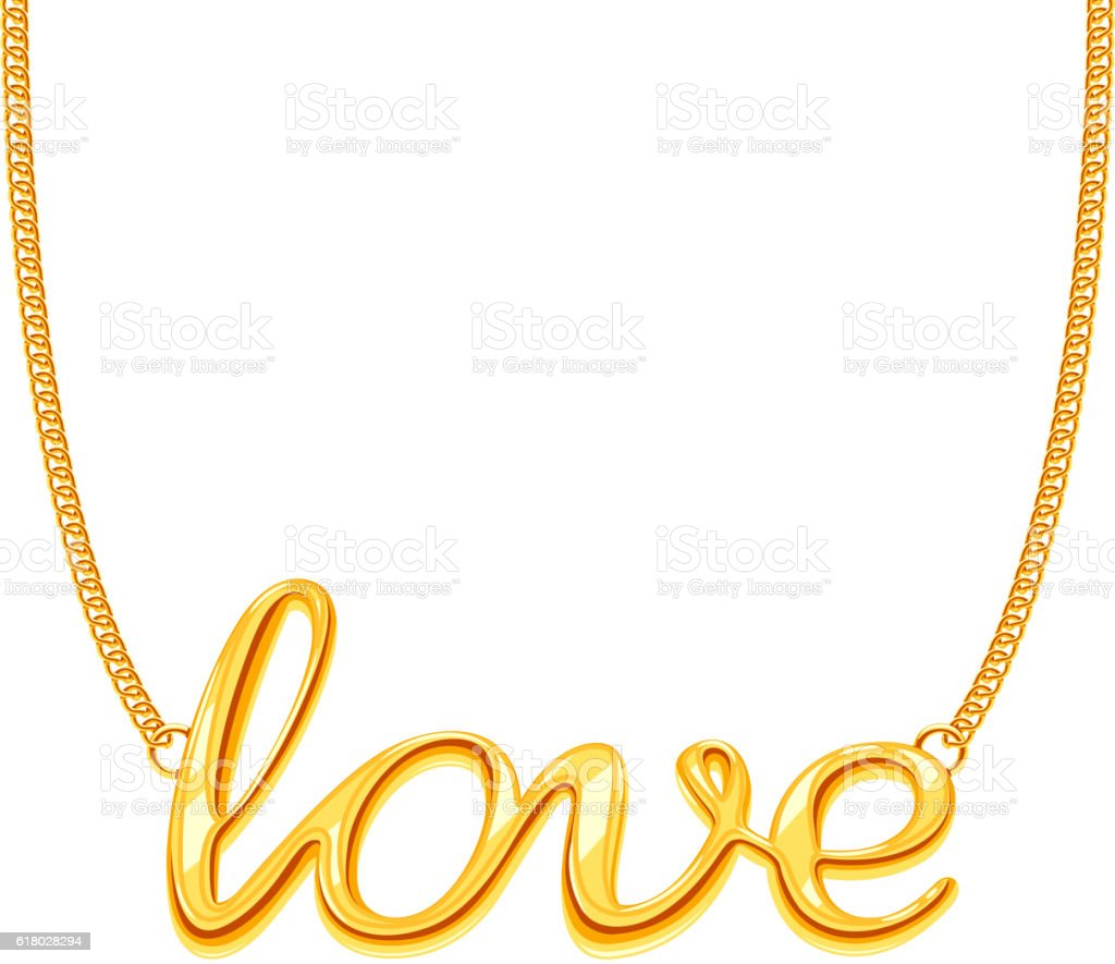 Gold chain necklace with LOVE word pendant vector illustration vector art illustration