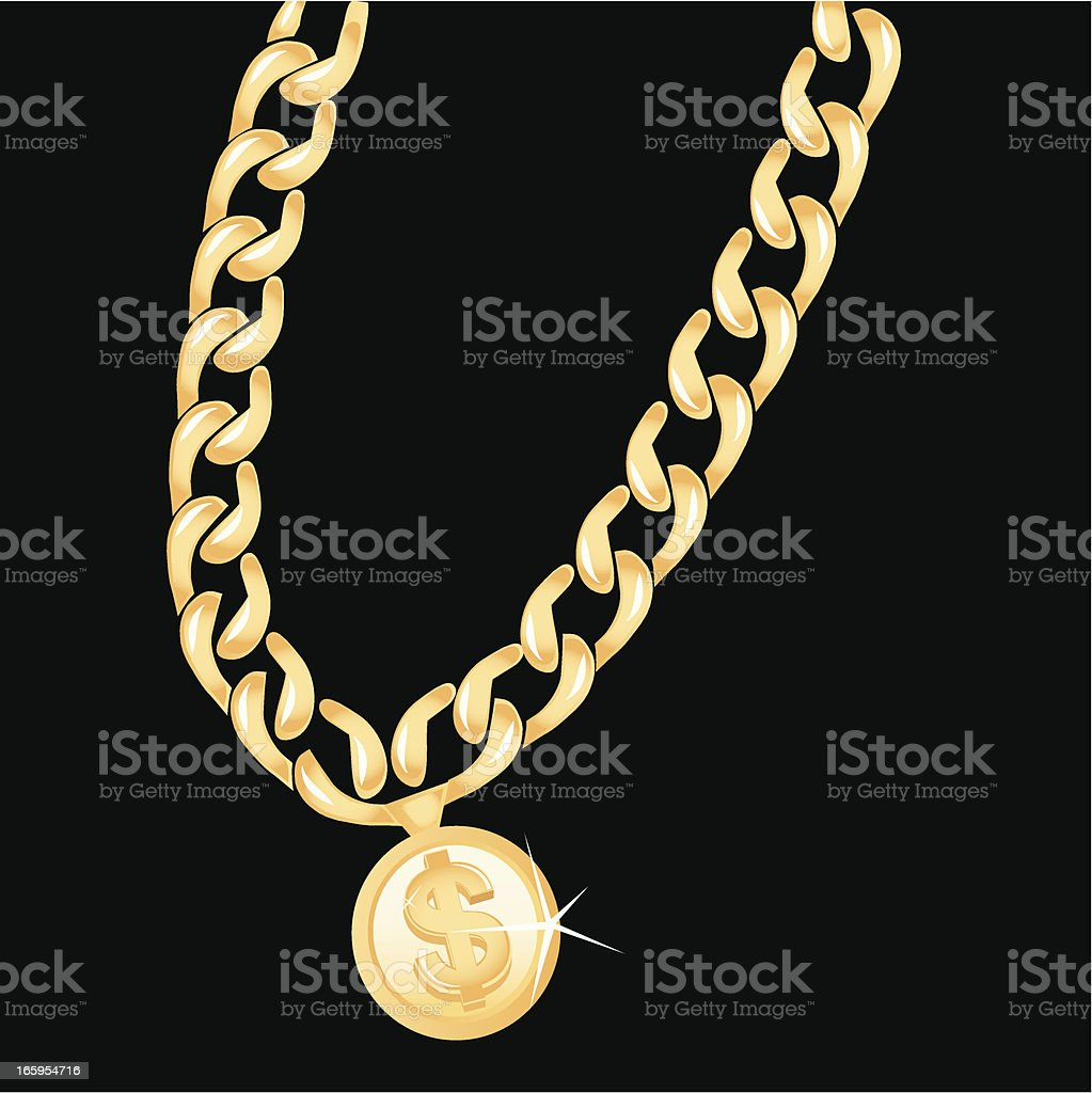 Gold Chain vector art illustration