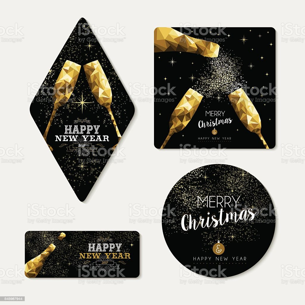 Gold christmas and new year greeting card set vector art illustration