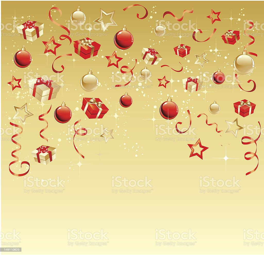 Gold christmas background with red balls and gift box royalty-free stock vector art
