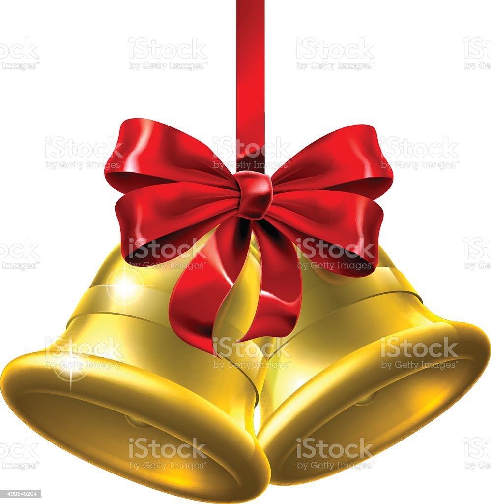 Gold Christmas Bells With Red Bow vector art illustration