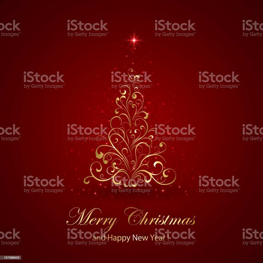 Gold Christmas tree royalty-free stock vector art