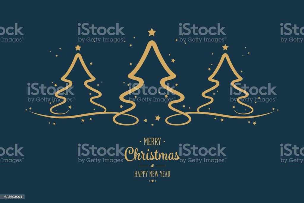 gold christmas trees stars greeting blue background vector art illustration