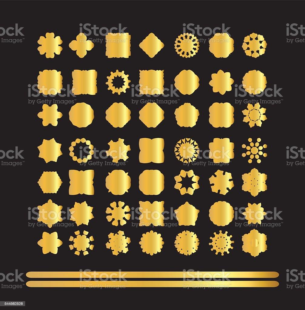 Gold circular ornament on black background. vector art illustration